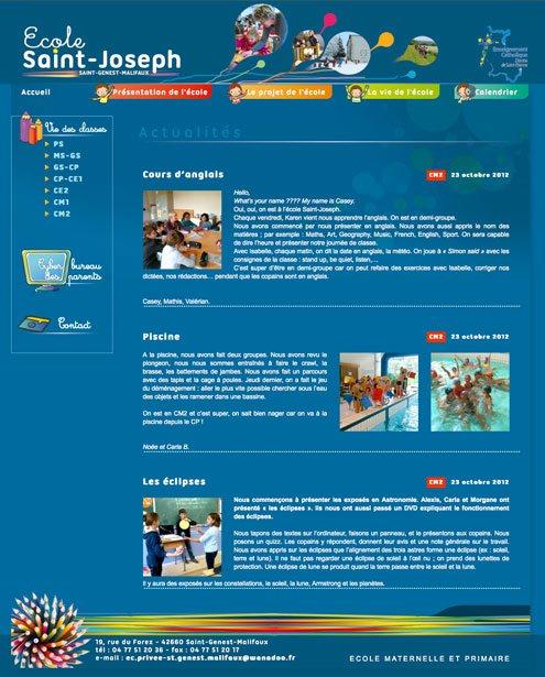 création du site internet avec des articles rédigés par les élèves