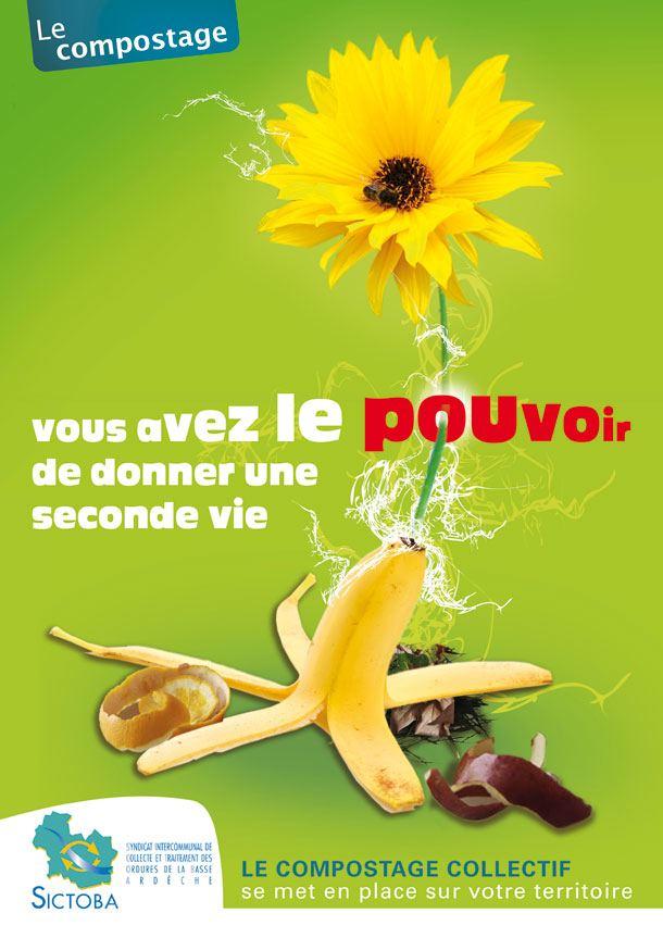 proposition graphique pour une affiche et une campagne publicitaire compostage