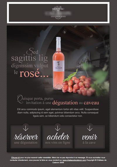 newsletter et site internet d'un domaine viticole