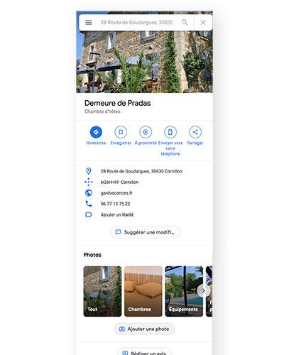 création d'une fiche GoogleMyBuiness associée à la maison d'hôtes