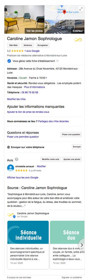 référencement local grâce à la fiche Google My Business