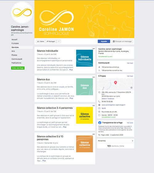 optimisation de la page Facebook du cabinet